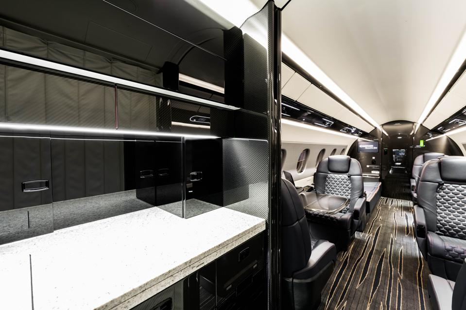 Luxurious private jet cabin interior