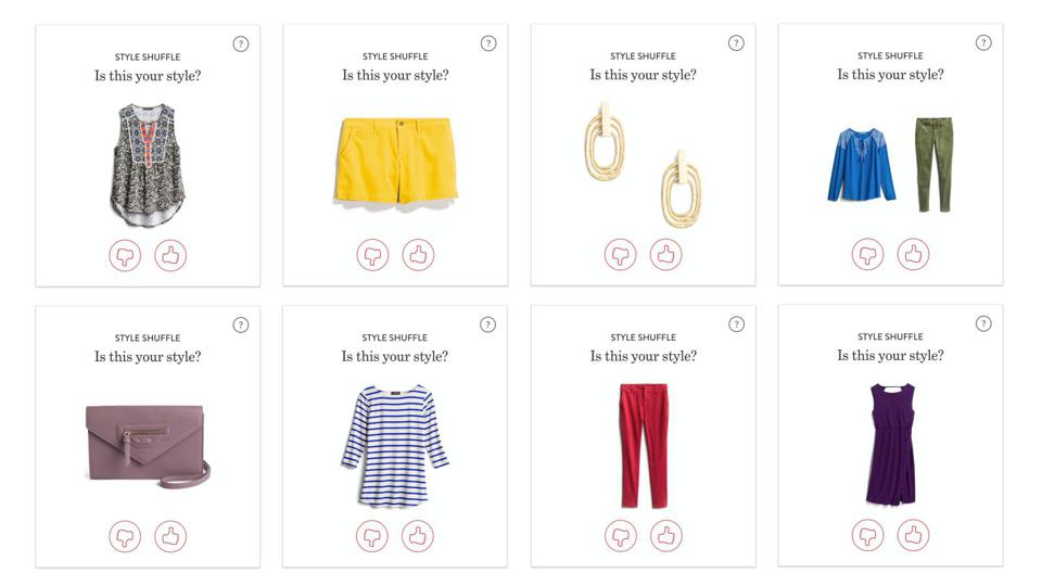 Style Shuffle, an interactive service by Stitch Fix allowing shoppers pick styles that they like.