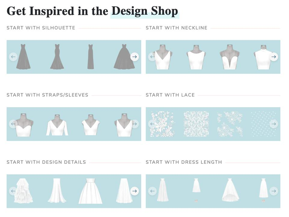 Anomalie provides a tool for creating customised wedding dresses from different starting points - like choosing a neckline, silhouette, or length or by browsing sketches.