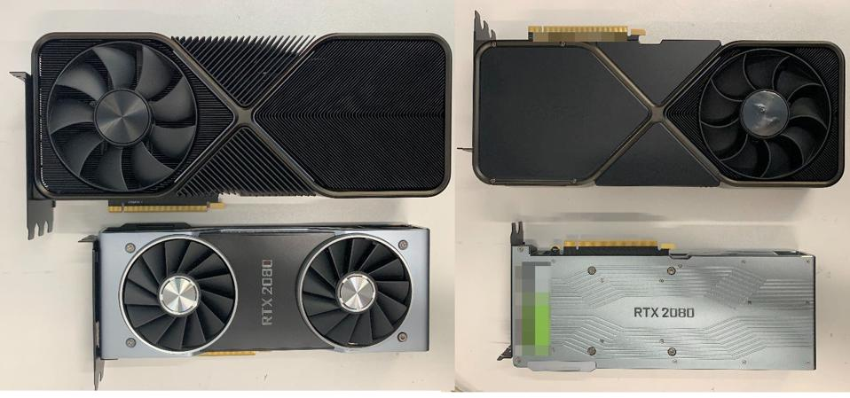 Nvidia's RTX 3090 cooler has been supposedly pictured andit's enormous, dwarfing the RTX 2080 and with a double-sided array of fans, which are also much larger
