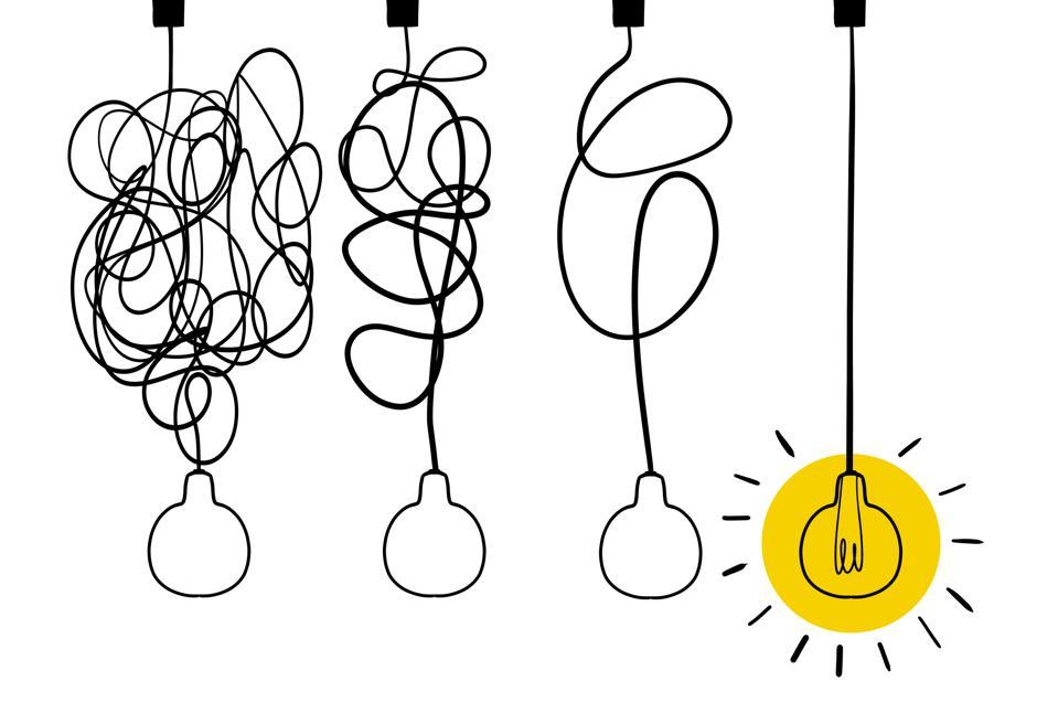Single line drawing of a light bulb