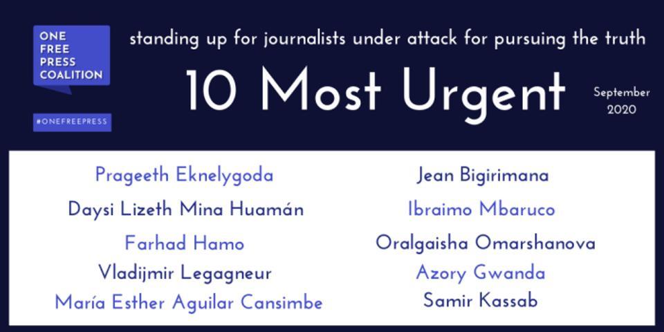 10 Most Urgent List - Sept. 2020