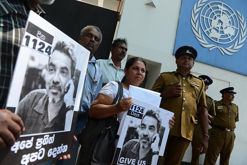 Sandhya Eknaligoda outside the United Nations offices in Colombo on February 21, 2013.