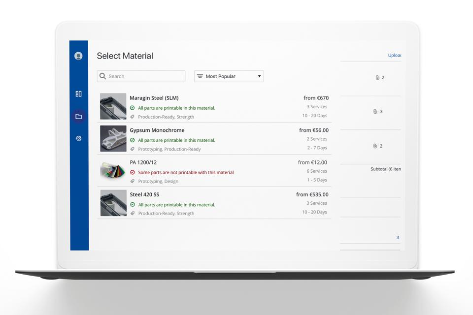 3YOURMIND software material selection for additive manufacturing