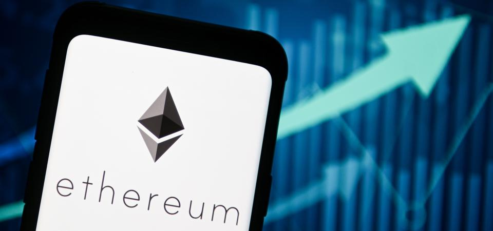 In this photo illustration an Ethereum logo seen displayed...