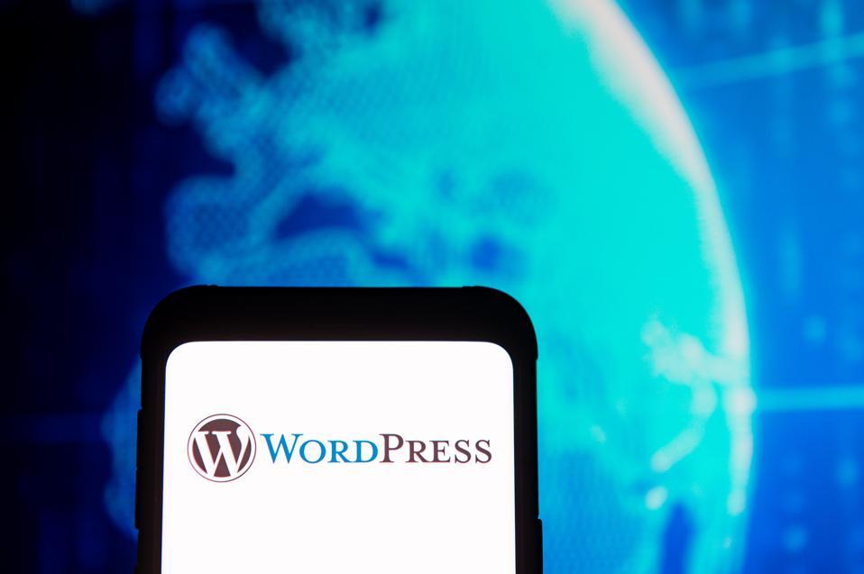 Wordpress logo seen displayed on a smartphone