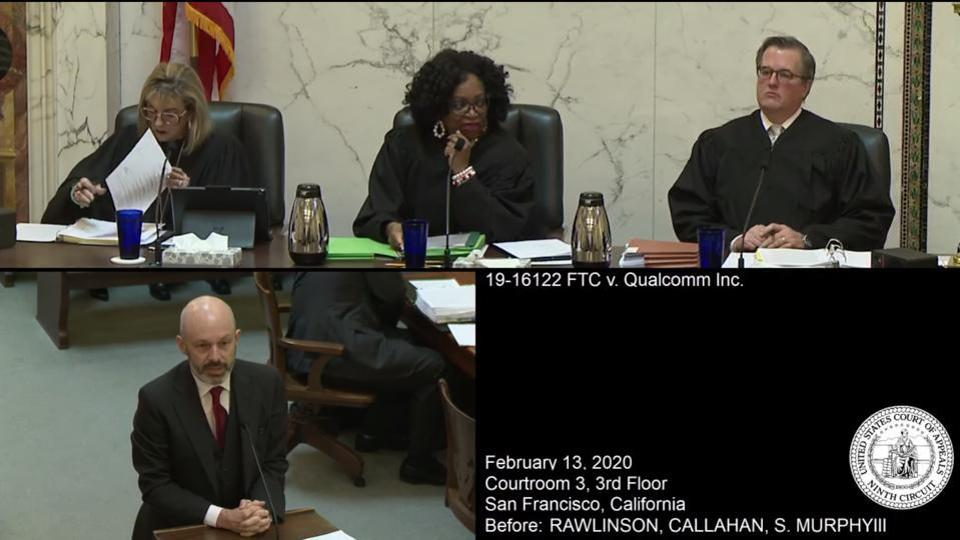 Tom Goldstein, representing Qualcomm, delivers remarks to the three judges overseeing the appeal.