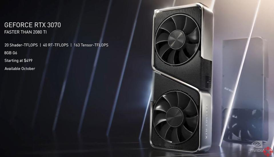 Nvidia's RTX 3070 will cost $499 and is available in October, with 8GB memory and is faster than the RTX 2080 Ti in some games at certain settings