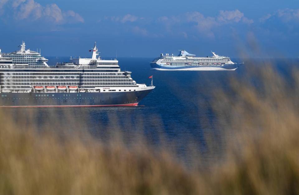 Cruise ships anchored in the English Channel off the Dorset coast