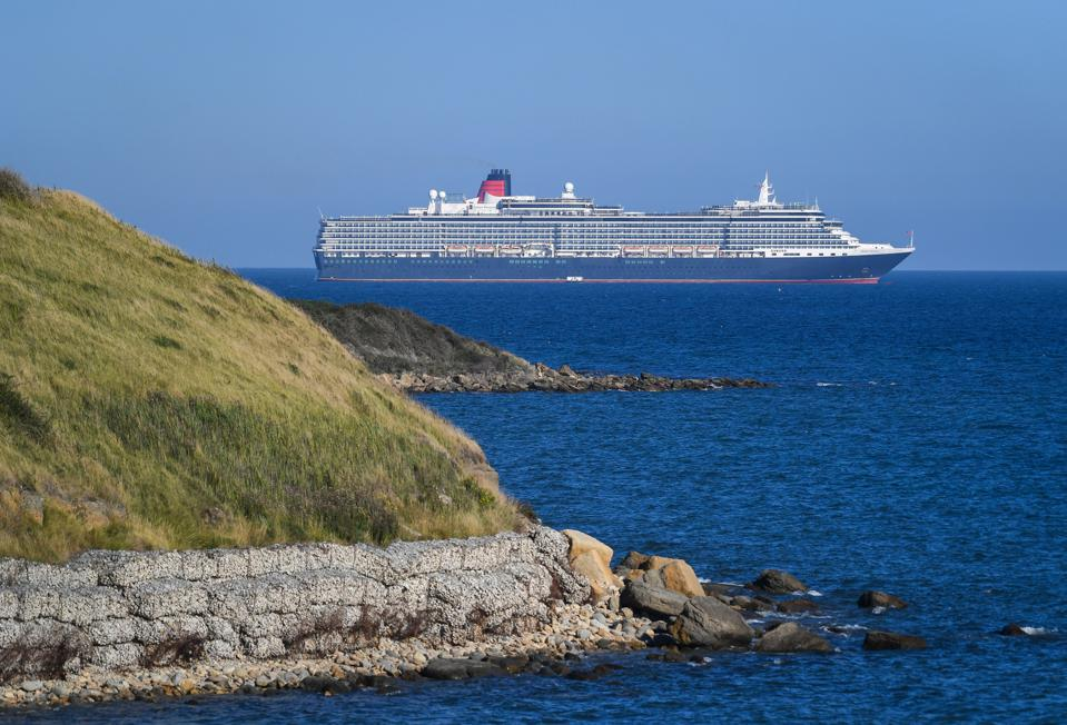 Cruise ship Queen Victoria anchored in the English Channel off the Dorset coast