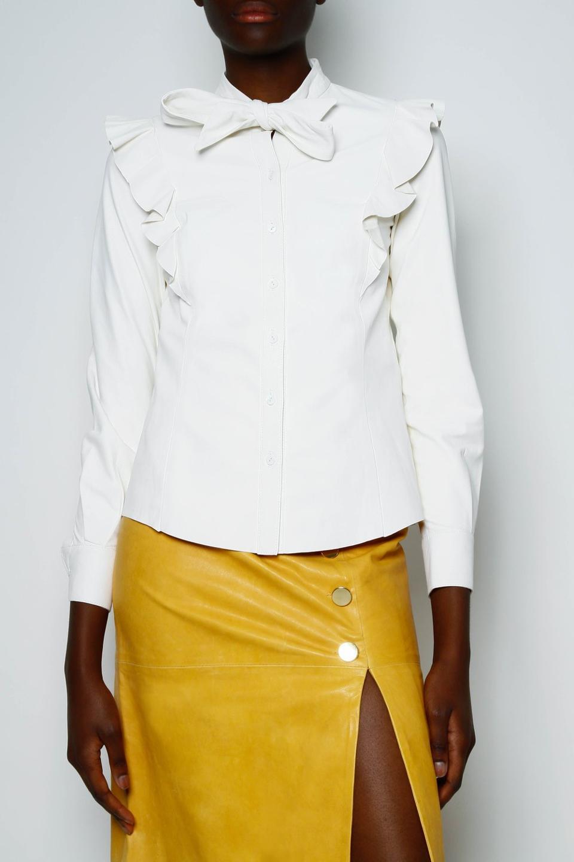 Hana Leather Pussybow Shirt by SKIIM London: