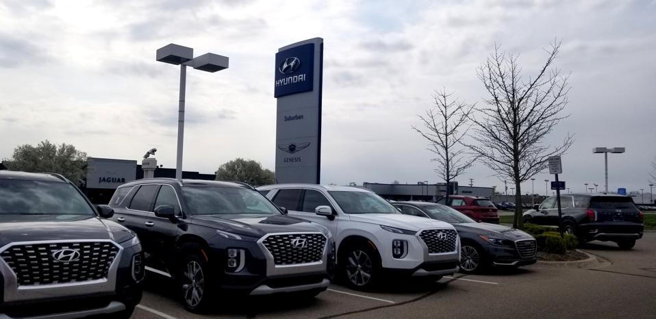 2020 model year Hyundai vehicles at a dealership in Troy, Michigan.
