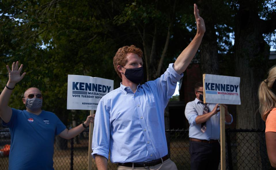 Rep. Joe Kennedy III Holds Campaign Events On Day Of Massachusetts Primary Election