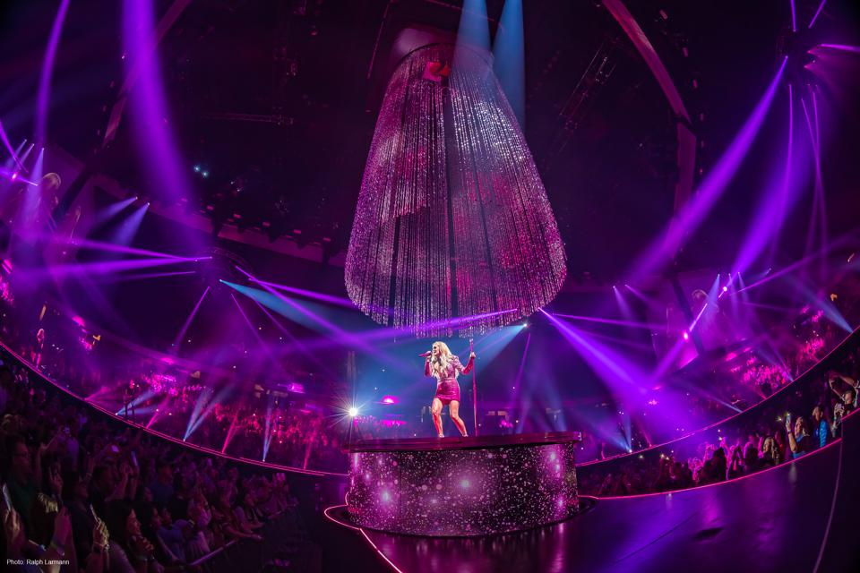 Carrie Underwood performs during 2019's Cry Pretty Tour 360 with set design by Fireplay