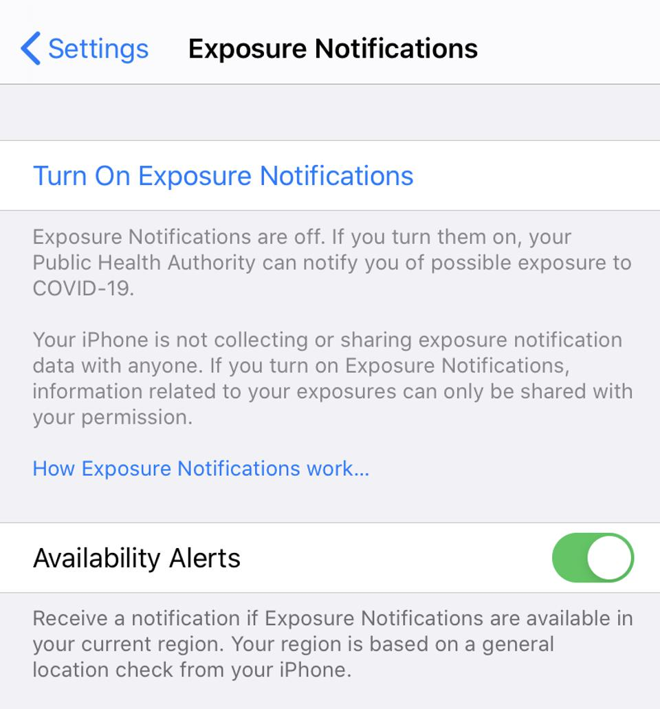 Exposure Notifications on an iPhone