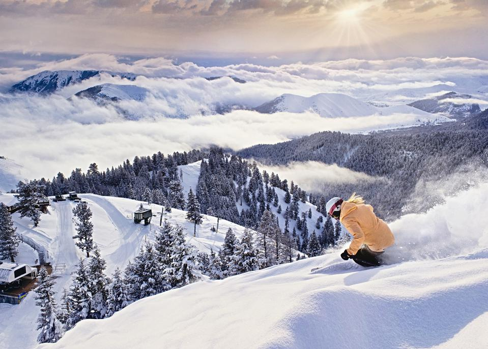 A lone skier at Sun Valley Resort.