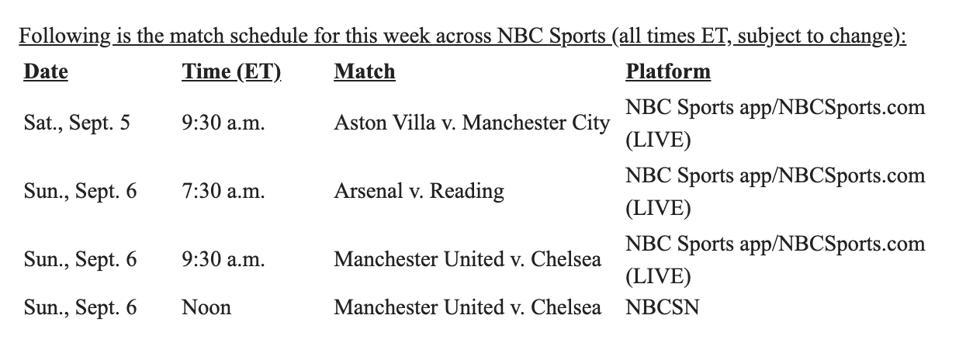 The weekend schedule