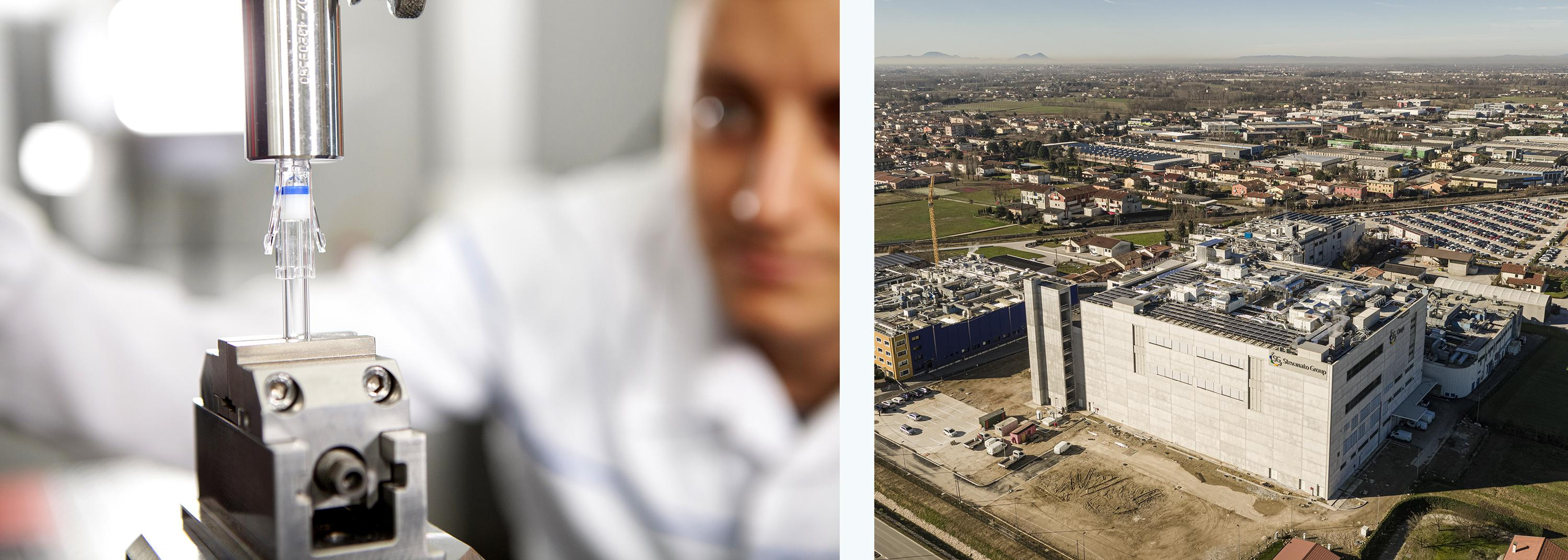 Left: A machine at a Stevanato Group factory. Right: Stevanato Group's factory in Piombino Dese, Italy.