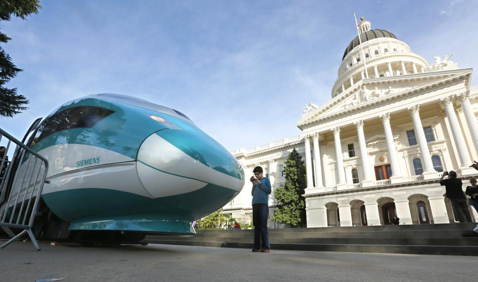 Full-scale mock-up of a high-speed train displayed at the California Capitol.