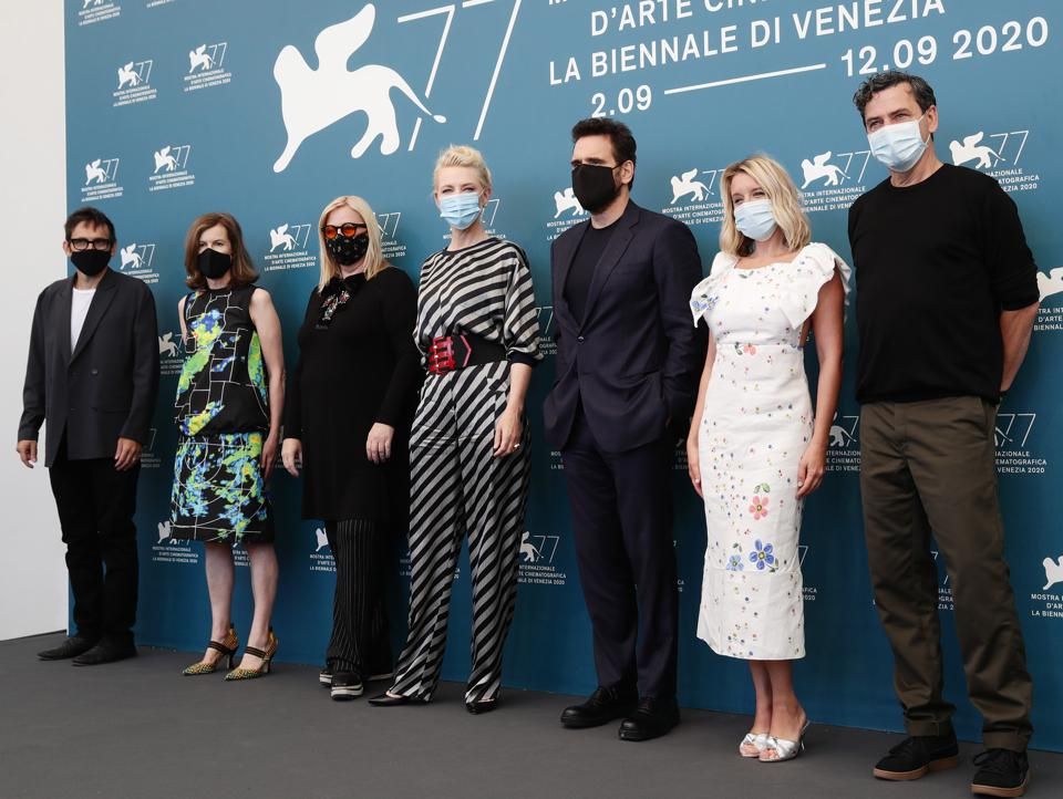 Jury members of The 77th Venice Film Festival wearing masks