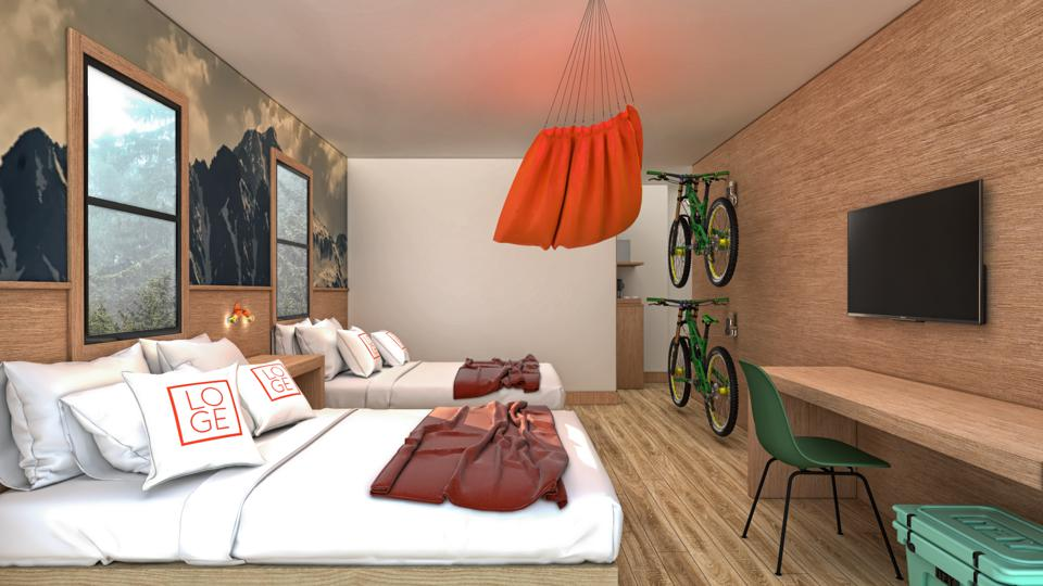 guest room with bike