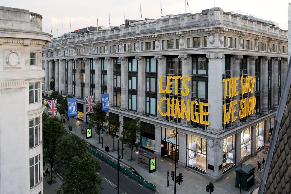 Selfridges building exterior with Project Earth signage