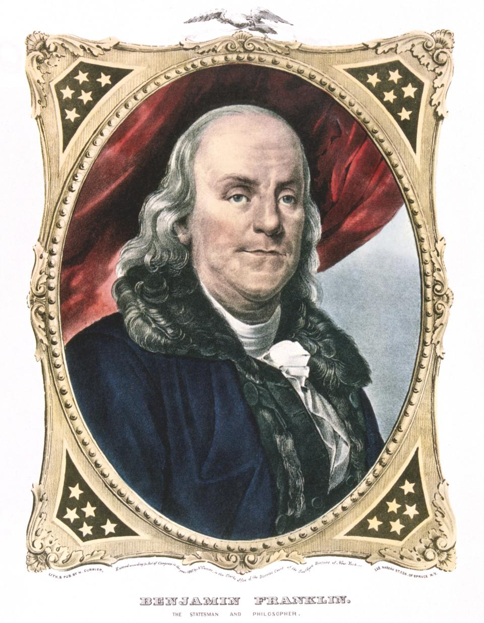 Benjamin Franklin, American statesman, printer and scientist, 19th century. Artist: Currier and Ives