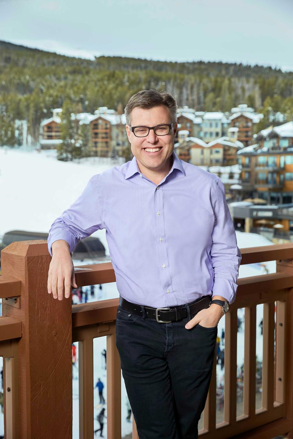 Rob Katz, CEO of Vail Resorts on a deck.