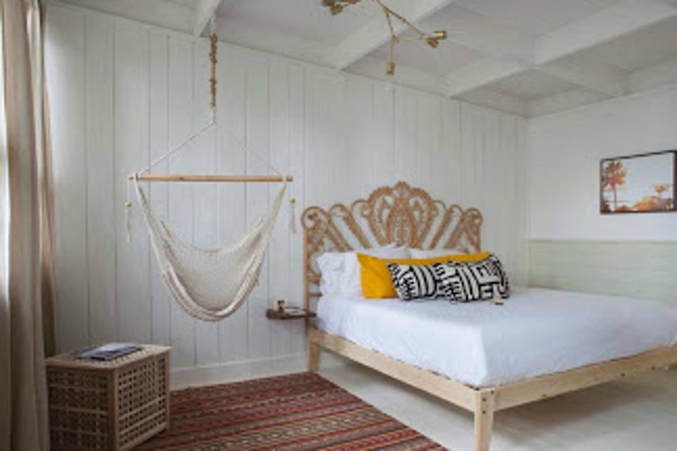 Comfortable rooms pair well with rustic surroundings.