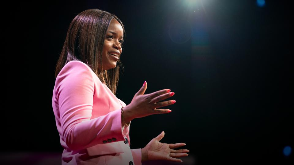 Brittany Packnett Cunningham delivering a TED Talk
