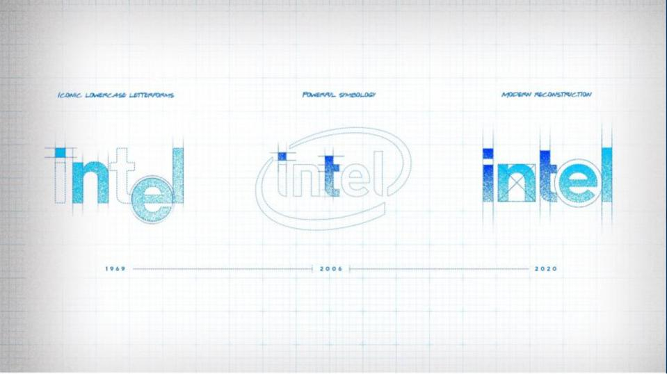 Intel's new logo pulls from the previous two: The first from 1969 and another from 2003.