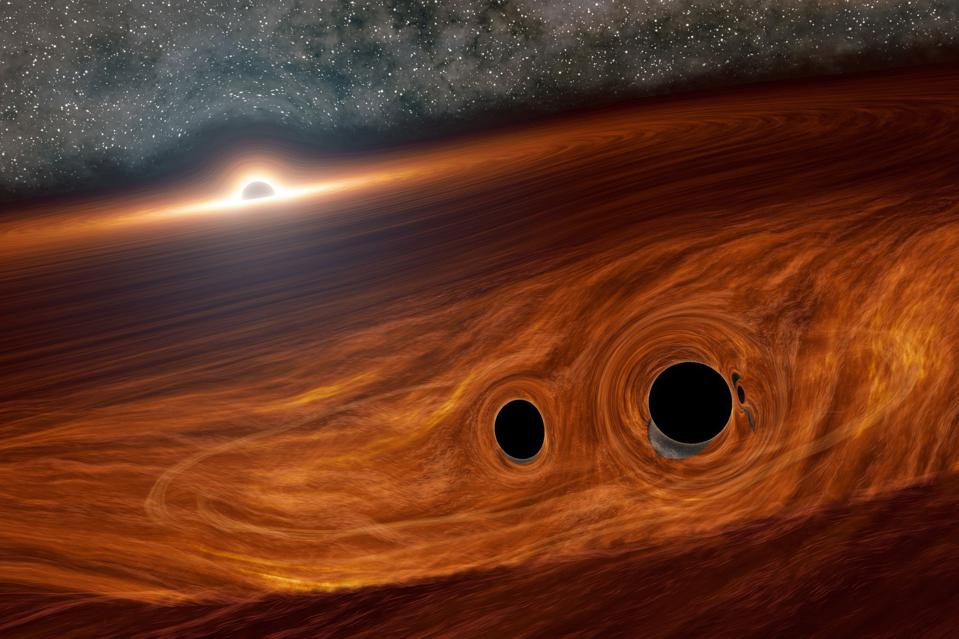 Two stellar mass black holes in the accretion disk of a supermassive, active black hole.