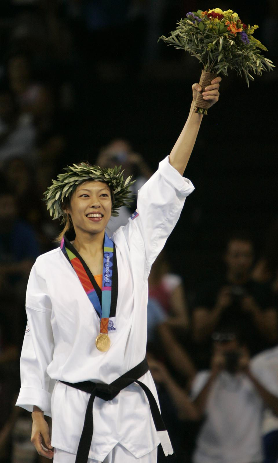 Chen Shih-Hsin receives her Olympic Gold Medal at the Athens Olympic Games in 2004.