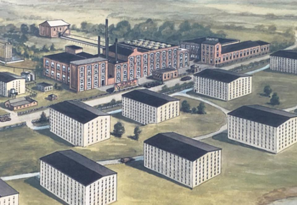 A drawing of the Heaven Hill distillery with seven surrounding warehouses in Kentucky