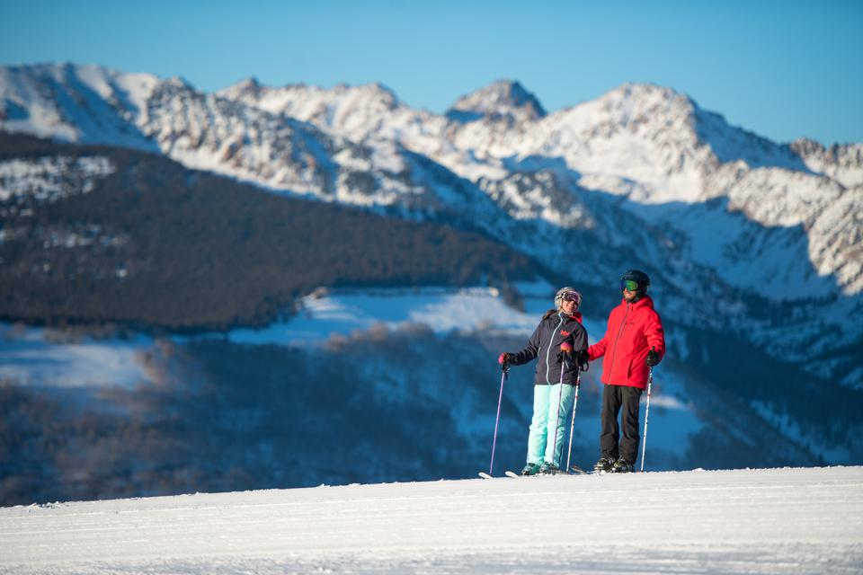 A couple of skiers taking a break while at Vail.