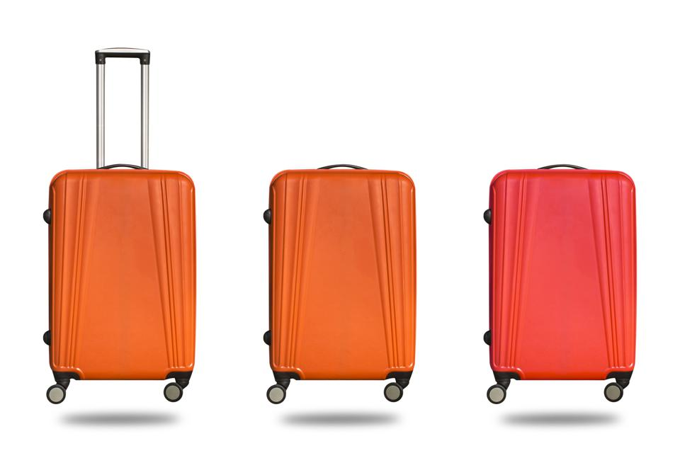Suitcases Against White Background