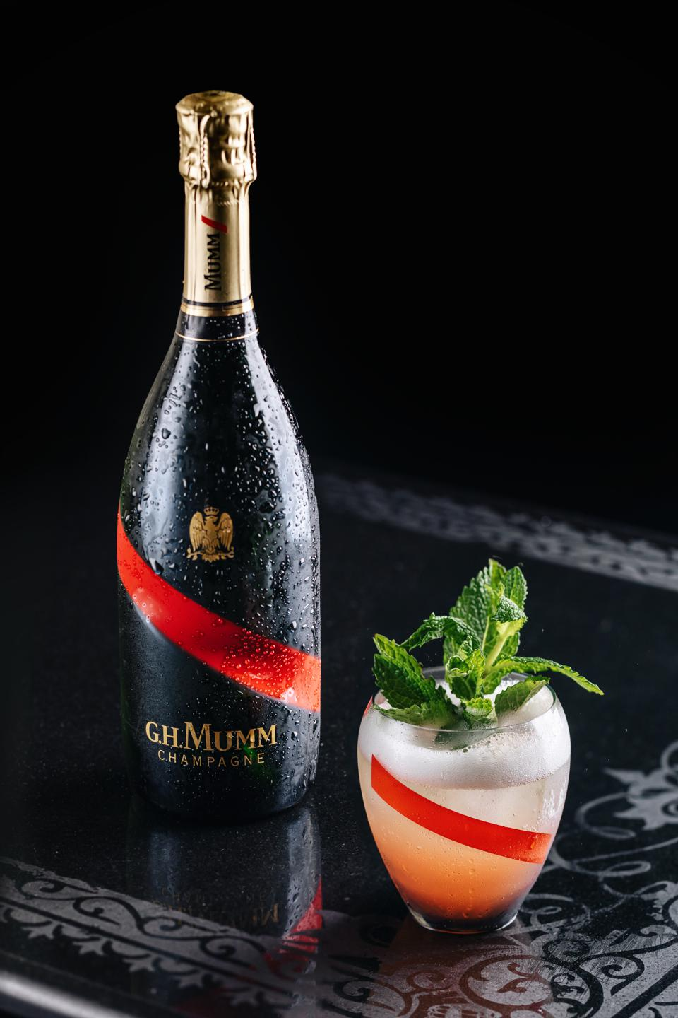 GH Mumm Champagne and a sparkling mint julep.