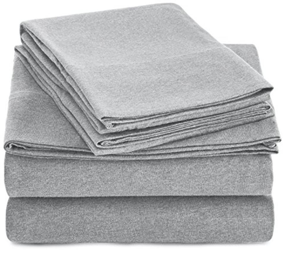 AmazonBasics Heather Cotton Jersey Bed Sheet Set, Queen