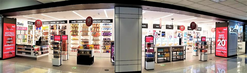 3Sixty Duty Free store front at Dallas Fort Worth International Airport Terminal C