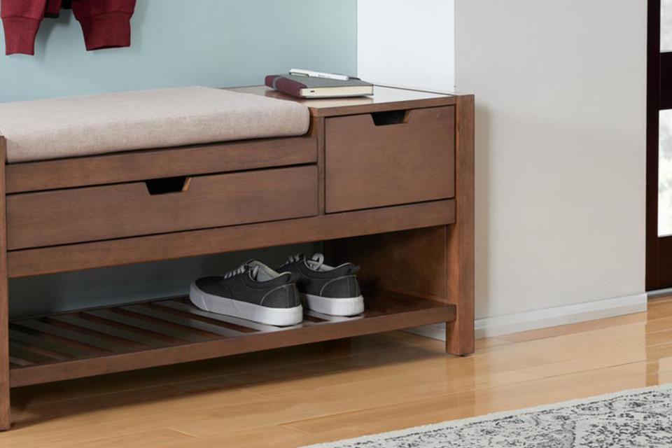 Home Decorators Collection Haze Finish Wood Entryway Bench with Cushion and Concealed Storage