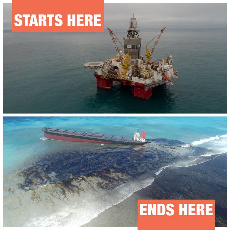 3 September 2020: poster by Greenpeace showing how heavy fuel oil used in shipping is a major risk to the marine environment along the entire supply chain.