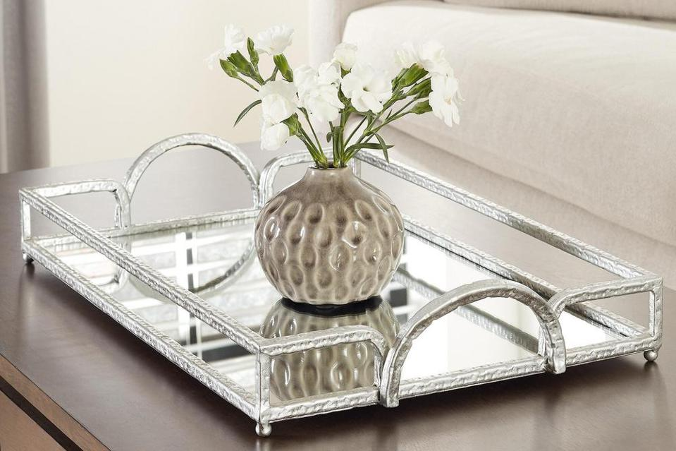 Home Decorators Collection Silver Hammered Metal Decorative Rectangle Mirror Tray