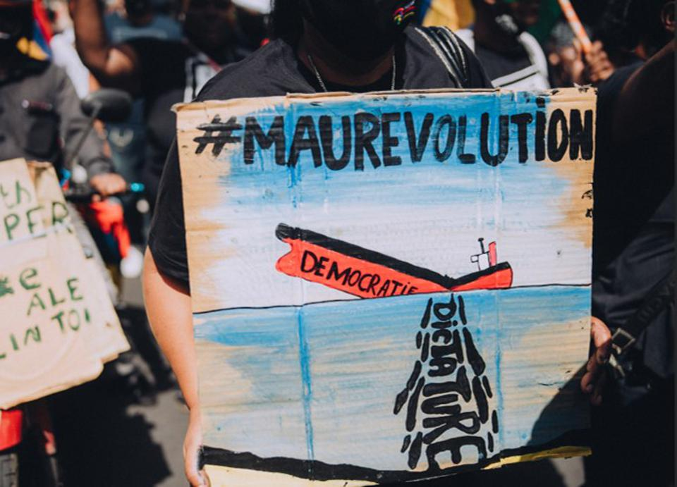 29 August 2020: protestors in capital city Port Louis carry signs concerned about the Government's attempt to suppress news about the oil spill and clean up operation following the Wakashio spill.