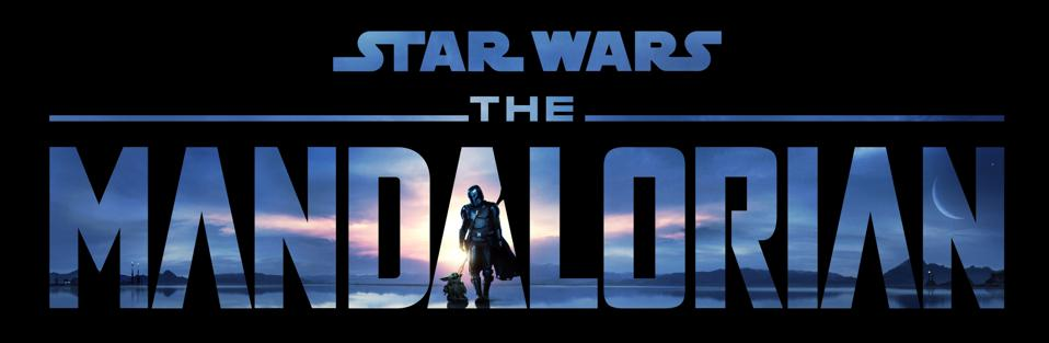 The Mandalorian logo with Mando and The Child with a dark blue sky background.
