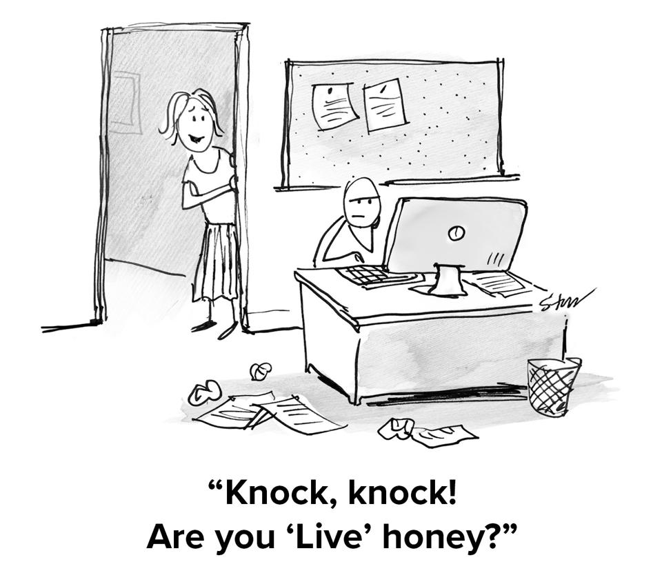 Someone on their computer looking annoyed with an older woman peeking in the doorway saying ″knock, knock. Are you 'Live' honey?″