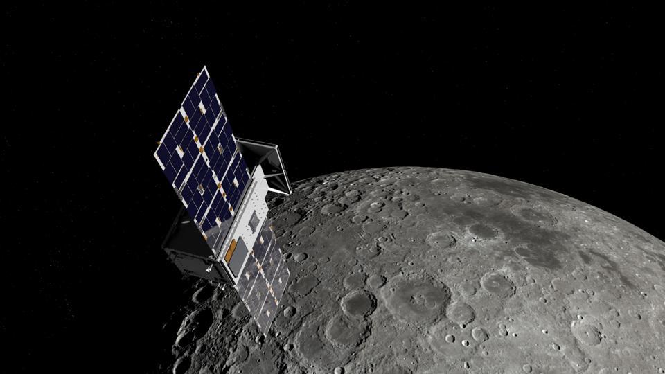 Artist's conception of the CAPSTONE spacecraft in Lunar orbit.