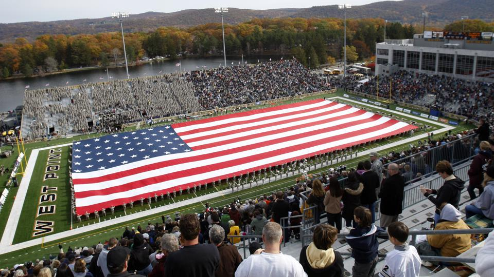 The American flag is displayed at Michie Stadium in West Point.