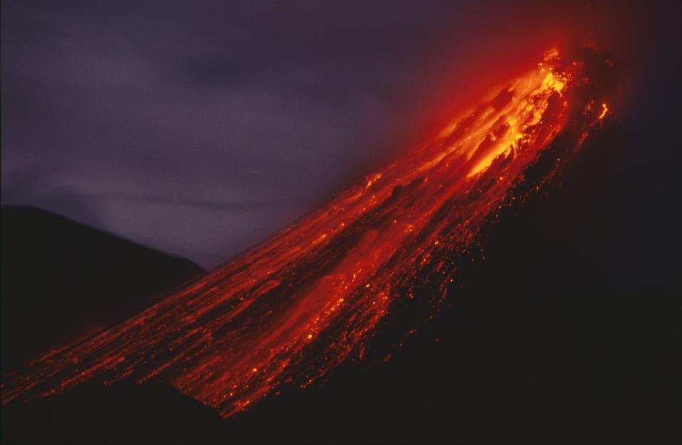 Eruption & Lava flow Soufriere Hills Volcano Montserrat Caribbean.