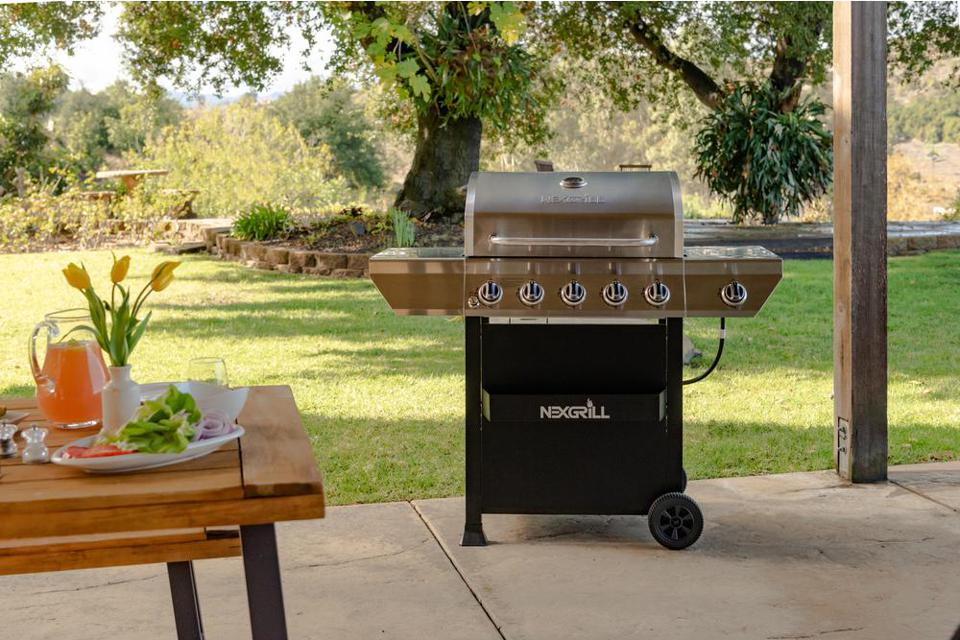 Home Depot NexGrill 5-Burner Propane Gas Grill in Stainless Steel with Side Burner and Condiment Rack