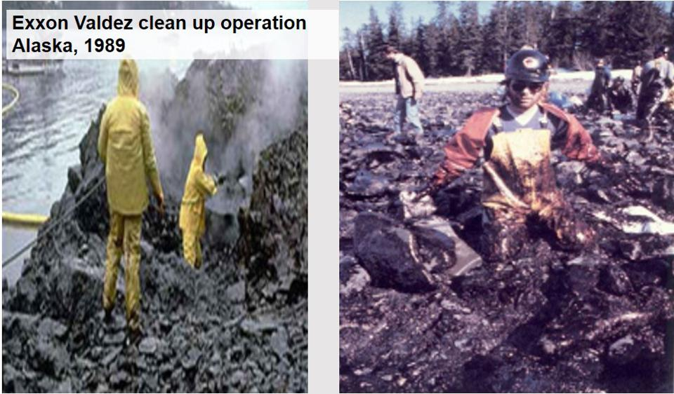 1989, Exxon Valdez cleanup: the use of high powered water sprays and chemical dispersal ended up having a greater long term impact than the spill itself